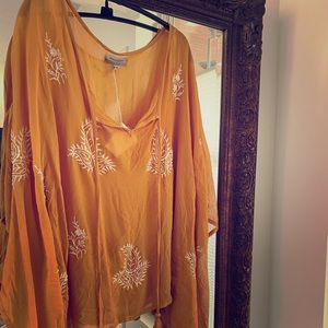 Mustard colored flowy, 'hippie' top